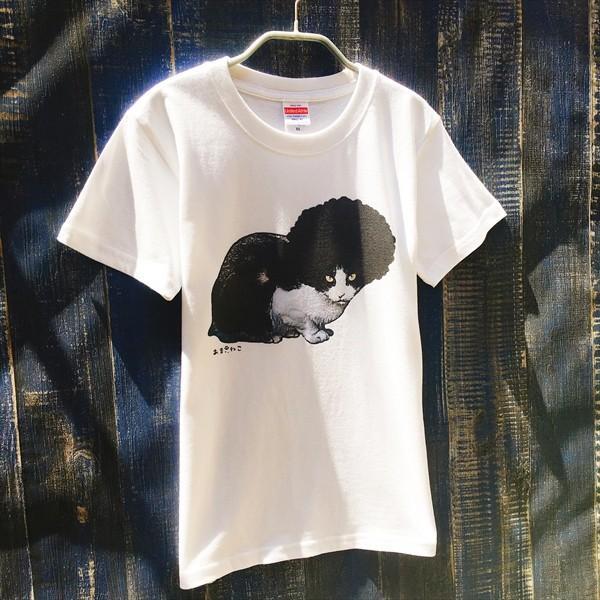 アフロな猫Tシャツ XS〜Lサイズ 白 ホワイト シンプル メンズ レディース 白黒 厚手 ロック フェス amaneko 02