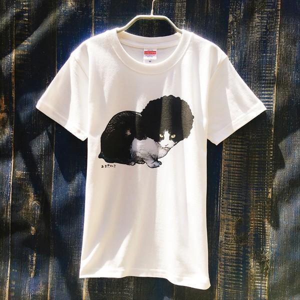 アフロな猫Tシャツ XS〜Lサイズ 白 ホワイト シンプル メンズ レディース 白黒 厚手 ロック フェス amaneko 03