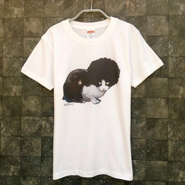 アフロな猫Tシャツ XS〜Lサイズ 白 ホワイト シンプル メンズ レディース 白黒 厚手 ロック フェス amaneko 04