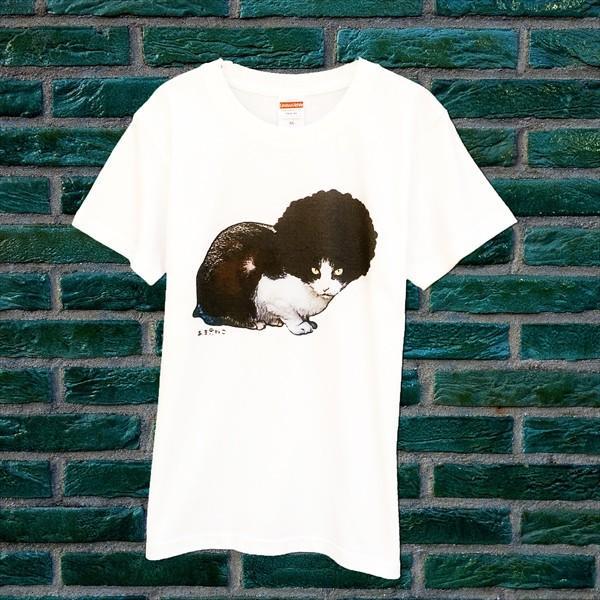 アフロな猫Tシャツ XS〜Lサイズ 白 ホワイト シンプル メンズ レディース 白黒 厚手 ロック フェス amaneko 06