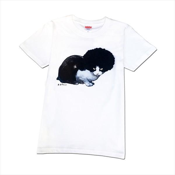 アフロな猫Tシャツ XS〜Lサイズ 白 ホワイト シンプル メンズ レディース 白黒 厚手 ロック フェス amaneko 07