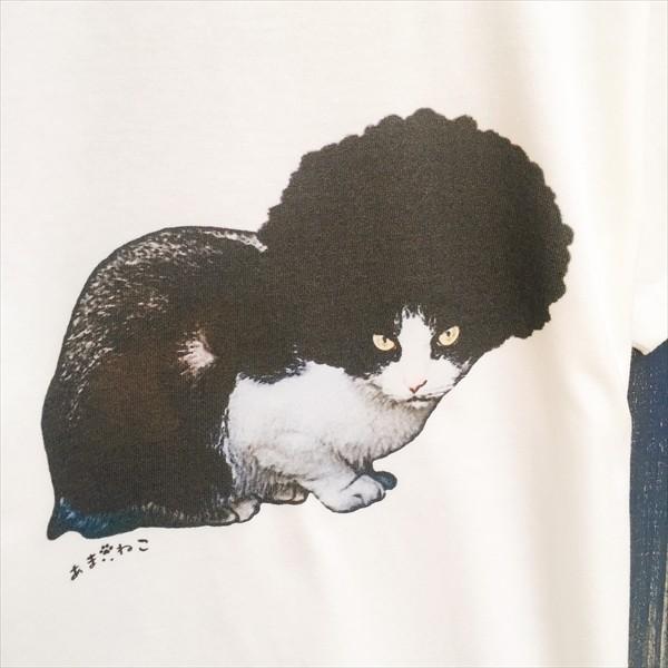アフロな猫Tシャツ XS〜Lサイズ 白 ホワイト シンプル メンズ レディース 白黒 厚手 ロック フェス amaneko 08