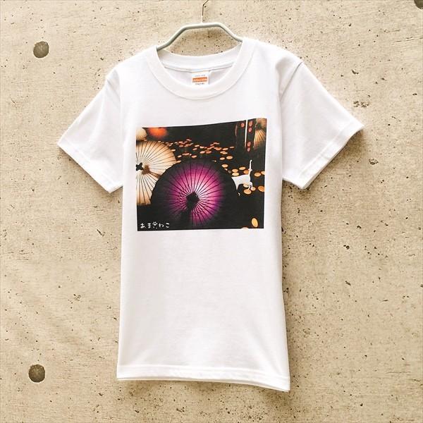 和傘と白猫 Tシャツ XS〜Lサイズ 白 ホワイト シンプル メンズ レディース 厚手 和柄 京風 夏祭り|amaneko|02
