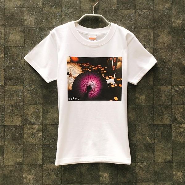 和傘と白猫 Tシャツ XS〜Lサイズ 白 ホワイト シンプル メンズ レディース 厚手 和柄 京風 夏祭り|amaneko|03