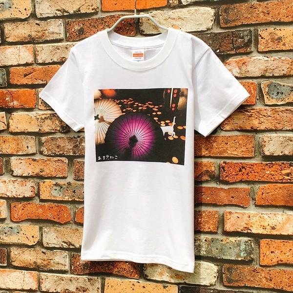 和傘と白猫 Tシャツ XS〜Lサイズ 白 ホワイト シンプル メンズ レディース 厚手 和柄 京風 夏祭り|amaneko|04