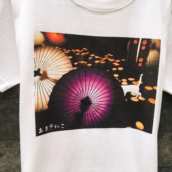 和傘と白猫 Tシャツ XS〜Lサイズ 白 ホワイト シンプル メンズ レディース 厚手 和柄 京風 夏祭り|amaneko|06