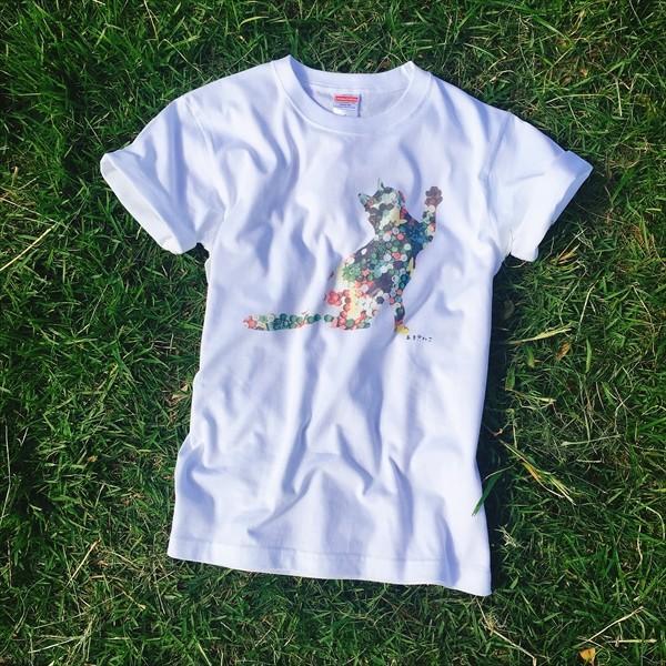 ボタン猫 Tシャツ XS〜Lサイズ 白 ホワイト シンプル メンズ レディース 綿100% シルエット 和柄 ネコ amaneko 02