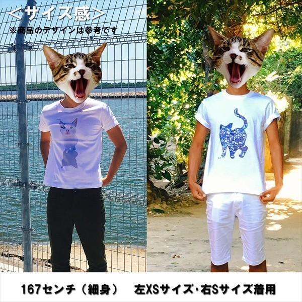 ボタン猫 Tシャツ XS〜Lサイズ 白 ホワイト シンプル メンズ レディース 綿100% シルエット 和柄 ネコ amaneko 12