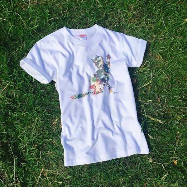ボタン猫 Tシャツ XS〜Lサイズ 白 ホワイト シンプル メンズ レディース 綿100% シルエット 和柄 ネコ amaneko 03