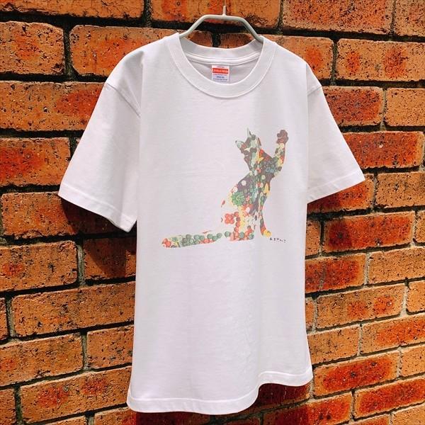 ボタン猫 Tシャツ XS〜Lサイズ 白 ホワイト シンプル メンズ レディース 綿100% シルエット 和柄 ネコ amaneko 05