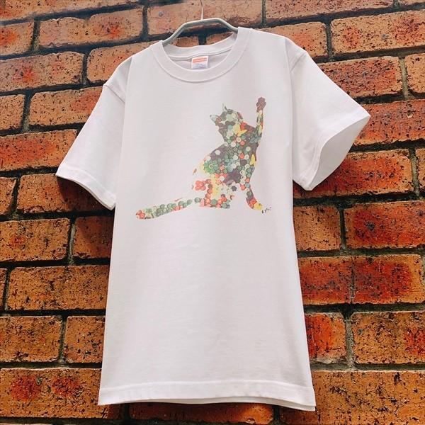 ボタン猫 Tシャツ XS〜Lサイズ 白 ホワイト シンプル メンズ レディース 綿100% シルエット 和柄 ネコ amaneko 06