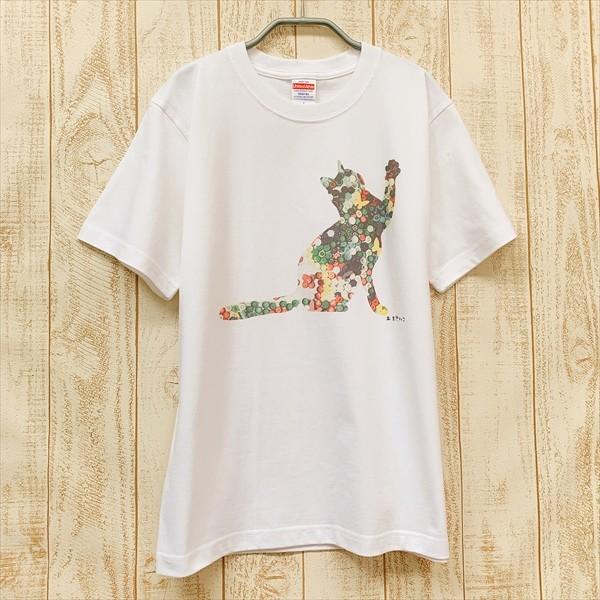 ボタン猫 Tシャツ XS〜Lサイズ 白 ホワイト シンプル メンズ レディース 綿100% シルエット 和柄 ネコ amaneko 07