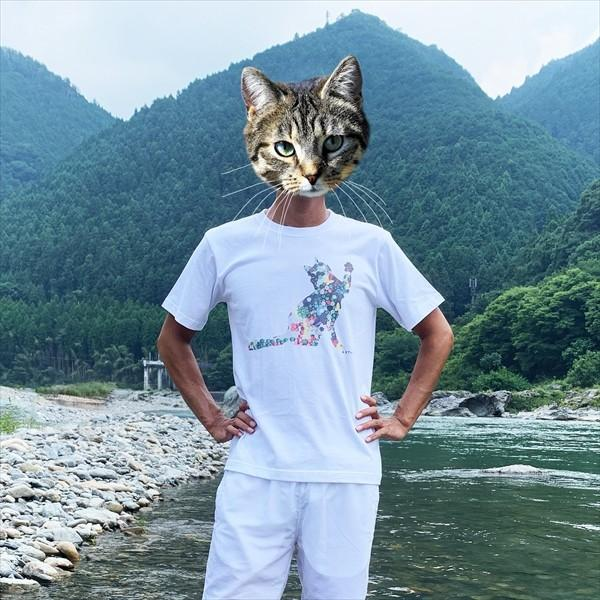 ボタン猫 Tシャツ XS〜Lサイズ 白 ホワイト シンプル メンズ レディース 綿100% シルエット 和柄 ネコ amaneko 08