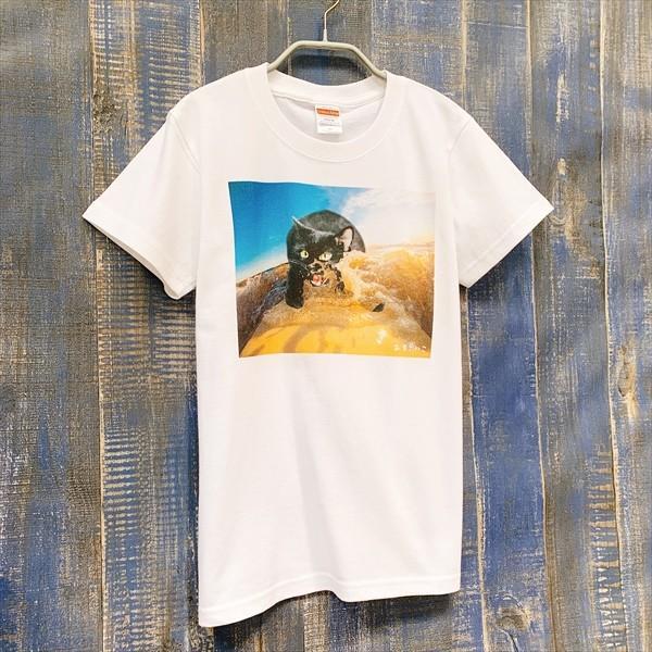 サーフボード 猫Tシャツ XS〜Lサイズ メンズ レディース 綿100% サーフィン 厚手 マリンスポーツ サーフィン ボディボード ホワイト|amaneko|02