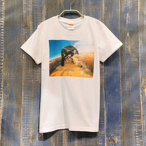 サーフボード 猫Tシャツ XS〜Lサイズ メンズ レディース 綿100% サーフィン 厚手 マリンスポーツ サーフィン ボディボード ホワイト|amaneko|03