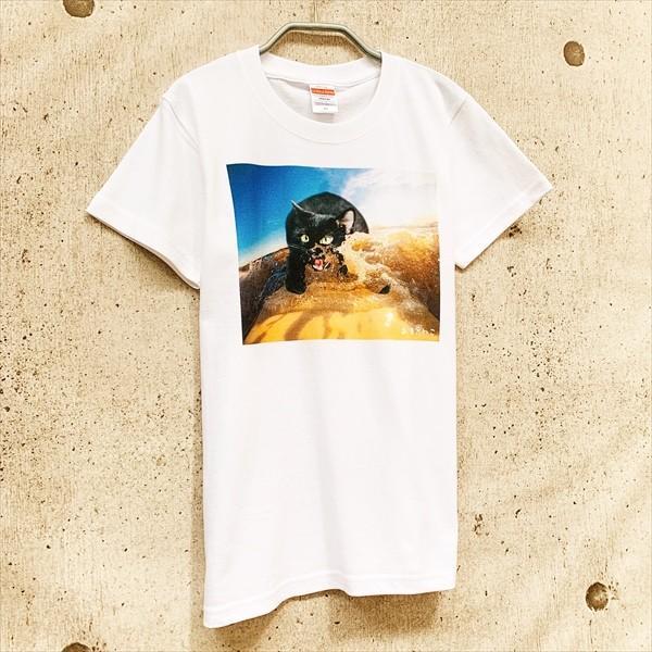 サーフボード 猫Tシャツ XS〜Lサイズ メンズ レディース 綿100% サーフィン 厚手 マリンスポーツ サーフィン ボディボード ホワイト|amaneko|04