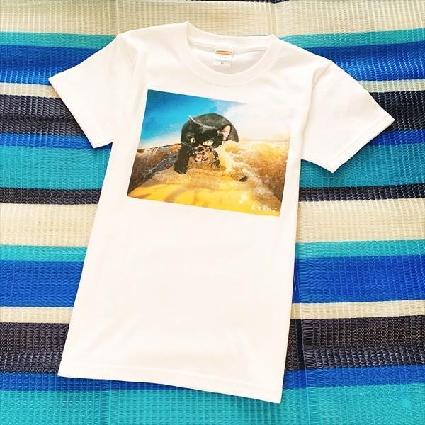 サーフボード 猫Tシャツ XS〜Lサイズ メンズ レディース 綿100% サーフィン 厚手 マリンスポーツ サーフィン ボディボード ホワイト|amaneko|10