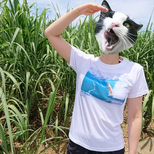 サーフィン猫 Tシャツ XS〜Lサイズ メンズ レディース 綿100% 厚手 マリンスポーツ サーフィン ボディボード ホワイト ユニーク|amaneko|02