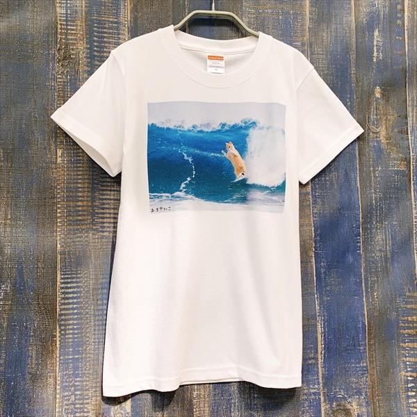 サーフィン猫 Tシャツ XS〜Lサイズ メンズ レディース 綿100% 厚手 マリンスポーツ サーフィン ボディボード ホワイト ユニーク|amaneko|03