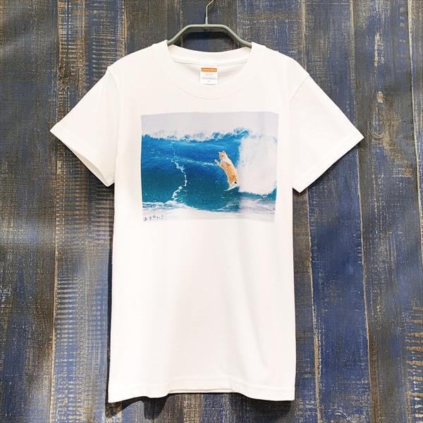 サーフィン猫 Tシャツ XS〜Lサイズ メンズ レディース 綿100% 厚手 マリンスポーツ サーフィン ボディボード ホワイト ユニーク|amaneko|05