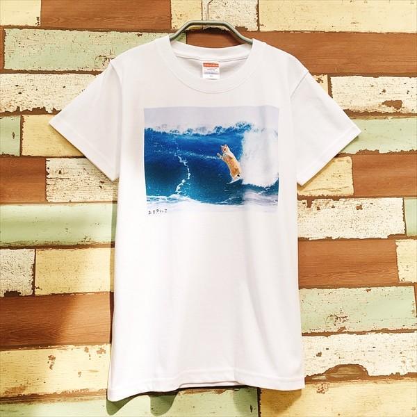 サーフィン猫 Tシャツ XS〜Lサイズ メンズ レディース 綿100% 厚手 マリンスポーツ サーフィン ボディボード ホワイト ユニーク|amaneko|06