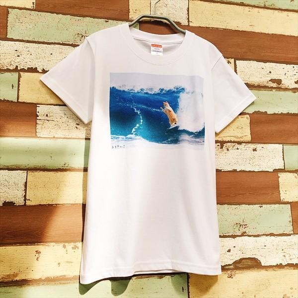 サーフィン猫 Tシャツ XS〜Lサイズ メンズ レディース 綿100% 厚手 マリンスポーツ サーフィン ボディボード ホワイト ユニーク|amaneko|07