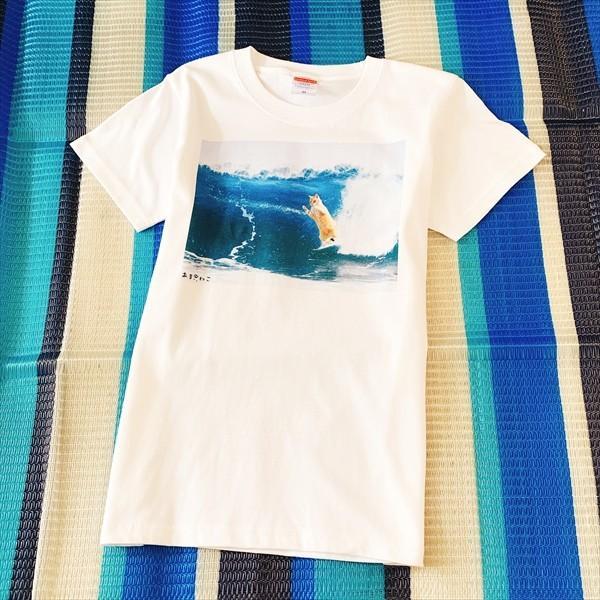 サーフィン猫 Tシャツ XS〜Lサイズ メンズ レディース 綿100% 厚手 マリンスポーツ サーフィン ボディボード ホワイト ユニーク|amaneko|08