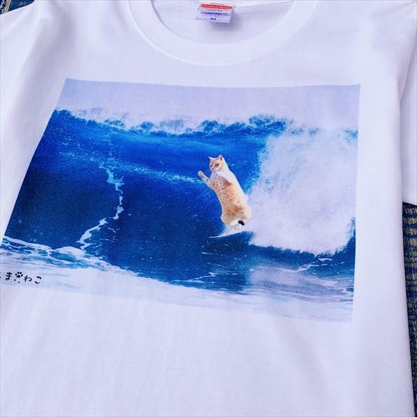 サーフィン猫 Tシャツ XS〜Lサイズ メンズ レディース 綿100% 厚手 マリンスポーツ サーフィン ボディボード ホワイト ユニーク|amaneko|09