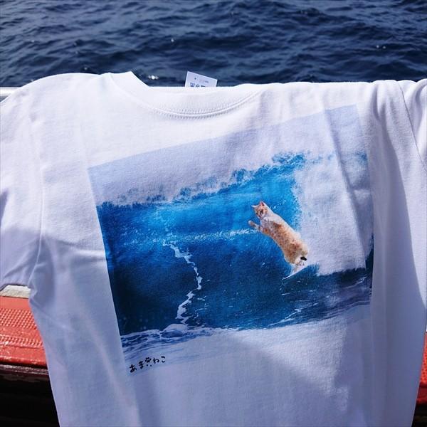 サーフィン猫 Tシャツ XS〜Lサイズ メンズ レディース 綿100% 厚手 マリンスポーツ サーフィン ボディボード ホワイト ユニーク|amaneko|10