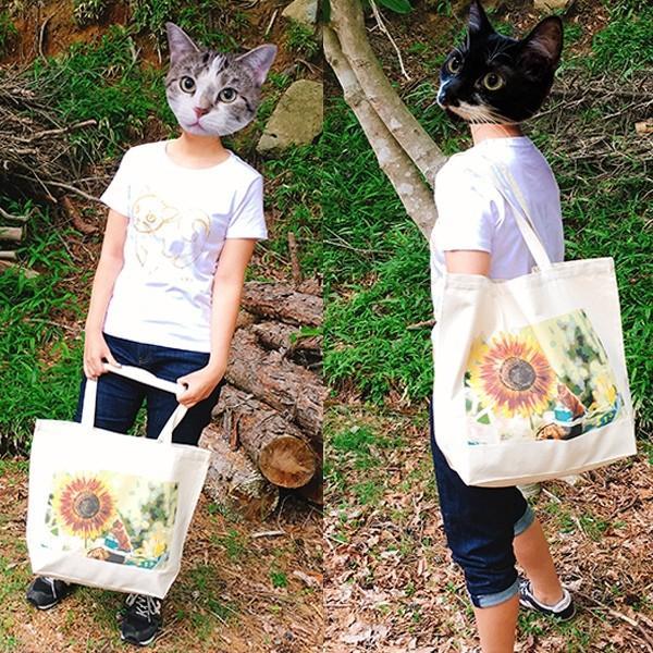 顔隠す猫トートバッグ 茶トラ トラ猫 Lサイズ 男女兼用 20リットル 大容量 ショッピングバッグ エコバッグ|amaneko|11