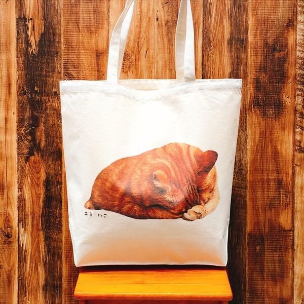 顔隠す猫トートバッグ 茶トラ トラ猫 Lサイズ 男女兼用 20リットル 大容量 ショッピングバッグ エコバッグ|amaneko|04