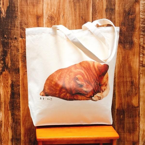 顔隠す猫トートバッグ 茶トラ トラ猫 Lサイズ 男女兼用 20リットル 大容量 ショッピングバッグ エコバッグ|amaneko|05
