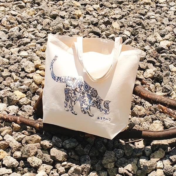 琉球紅型 猫トートバッグ Lサイズ 20リットル 大容量 沖縄 厚手 エコバッグ ショッピングバッグ 綿100%|amaneko|02
