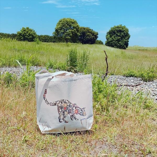 琉球紅型 猫トートバッグ Lサイズ 20リットル 大容量 沖縄 厚手 エコバッグ ショッピングバッグ 綿100%|amaneko|04