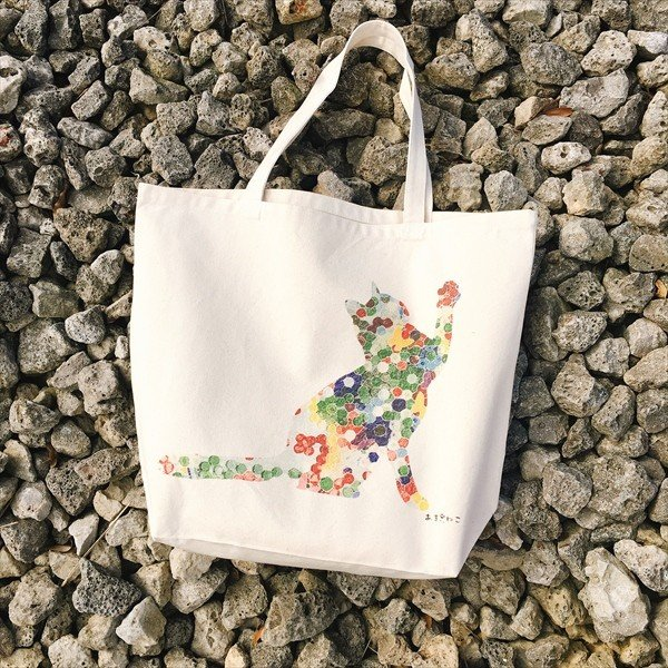 ボタン柄 猫トートバッグ 貼り絵風 Lサイズ 20リットル 大容量 厚手 ショッピングバッグ 綿100% ちぎり絵風 和柄 和紙|amaneko|02