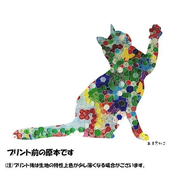 ボタン柄 猫トートバッグ 貼り絵風 Lサイズ 20リットル 大容量 厚手 ショッピングバッグ 綿100% ちぎり絵風 和柄 和紙|amaneko|15