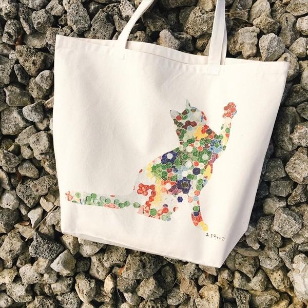 ボタン柄 猫トートバッグ 貼り絵風 Lサイズ 20リットル 大容量 厚手 ショッピングバッグ 綿100% ちぎり絵風 和柄 和紙|amaneko|03