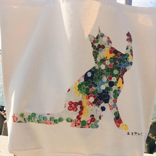 ボタン柄 猫トートバッグ 貼り絵風 Lサイズ 20リットル 大容量 厚手 ショッピングバッグ 綿100% ちぎり絵風 和柄 和紙|amaneko|06