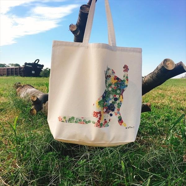 ボタン柄 猫トートバッグ 貼り絵風 Lサイズ 20リットル 大容量 厚手 ショッピングバッグ 綿100% ちぎり絵風 和柄 和紙|amaneko|07
