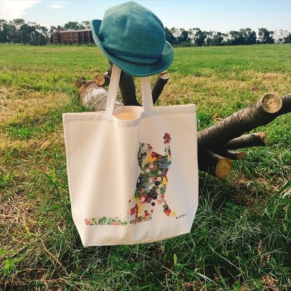 ボタン柄 猫トートバッグ 貼り絵風 Lサイズ 20リットル 大容量 厚手 ショッピングバッグ 綿100% ちぎり絵風 和柄 和紙|amaneko|08