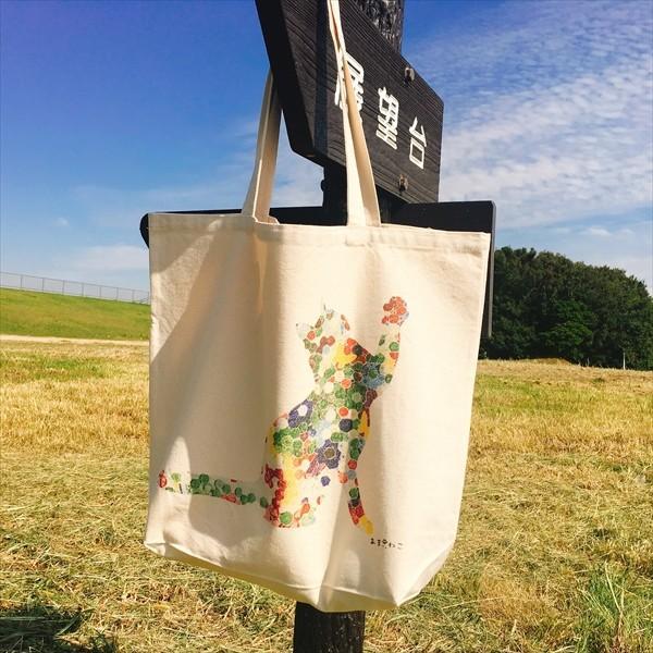 ボタン柄 猫トートバッグ 貼り絵風 Lサイズ 20リットル 大容量 厚手 ショッピングバッグ 綿100% ちぎり絵風 和柄 和紙|amaneko|09