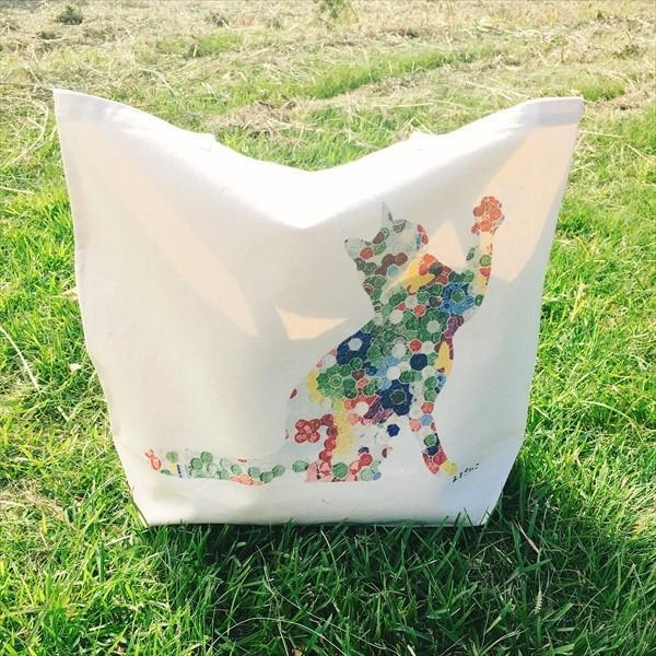 ボタン柄 猫トートバッグ 貼り絵風 Lサイズ 20リットル 大容量 厚手 ショッピングバッグ 綿100% ちぎり絵風 和柄 和紙|amaneko|10
