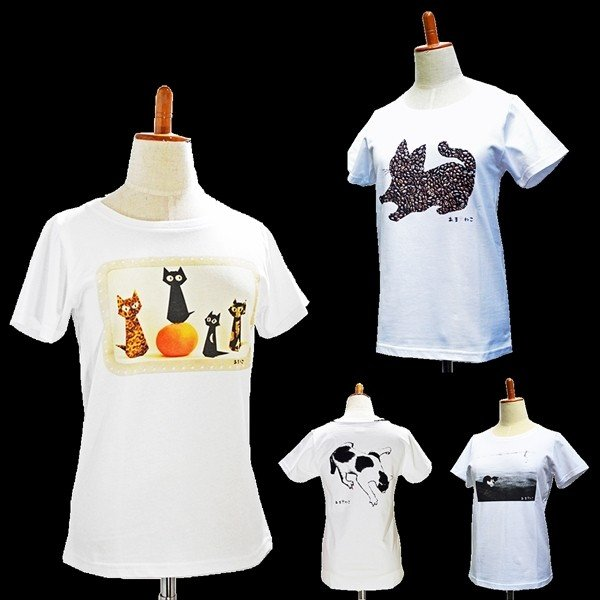 アウトレットvol.3 猫Tシャツ WS〜WLサイズ 白 ホワイト レディース キッズ ユニーク パロディ 綿100% 5.7oz 半額 セール|amaneko|07
