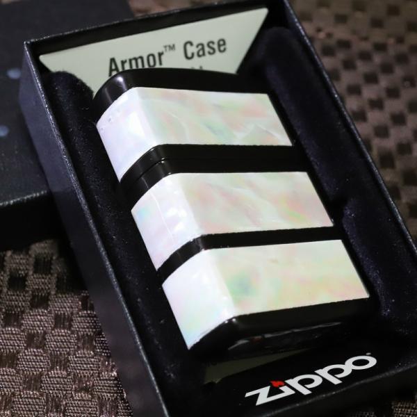 限定ZIPPO 3面加工 アーマーシェル3ライン ブラック 100個限定 天然貝 職人仕立て 人気 限定ジッポ プレゼント 高級 レア Armor zippo 黒 かっこいい ライター