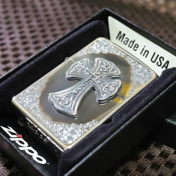 シルバークロス いぶし加工 ZIPPO デザインライター ジッポ プレゼント 人気 ジッポ 高級 アンティーク おしゃれ 十字架 送料無料 クリスマス zippo