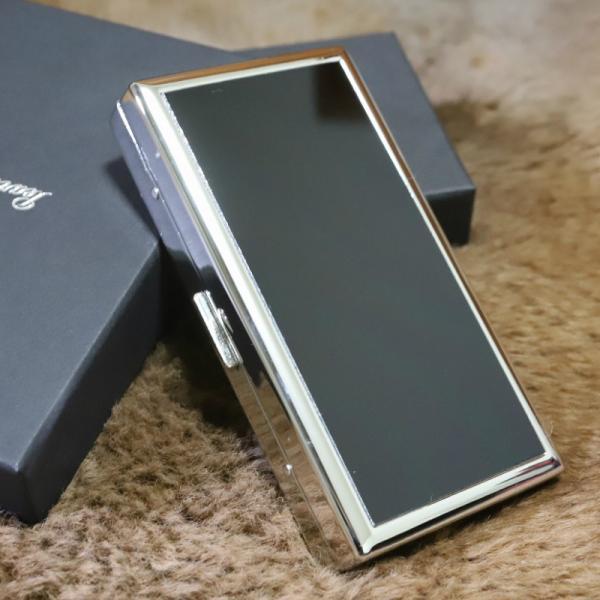 PEARL ブランドシガレットケース エリカ12 ブラックパネル 85mm 100mm 12本 大人のタバコケース ロングたばこ 人気 たばこケース シルバー 黒 銀