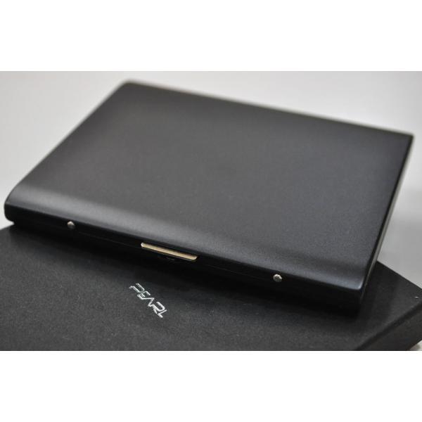 PEARL マッドブラック メタル シガレットケース パリス 85mm 100mm 10本 ロング可 ブランド たばこケース タバコケース 人気 艶消し黒 かっこいい シガーケース