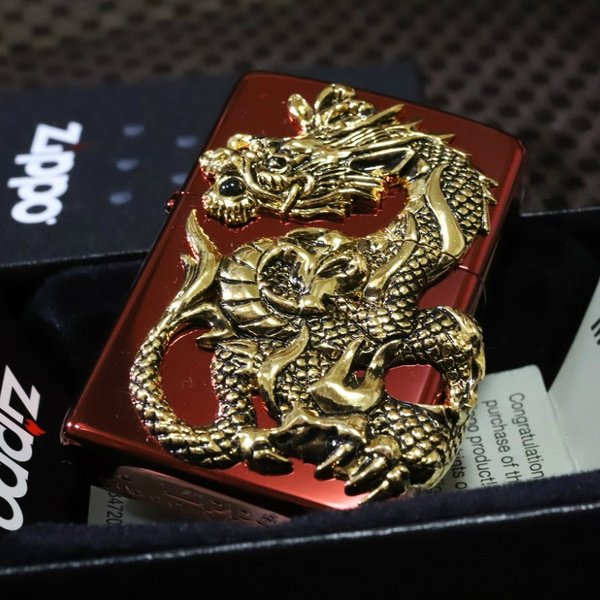 限定ZIPPO ジッポ 限定 ドラゴンメタル レッド 龍 竜 赤 限定モデル 人気 プレゼント おしゃれ 開運ジッポ レア ライター かっこいい zippo