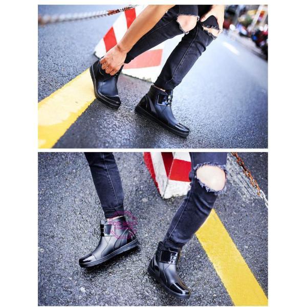 レインブーツメンズ 雨靴 レインシューズ ショートブーツ 防水 ブーツ 雨 雪 雨対策 おしゃれ 雨具 amazawa 07