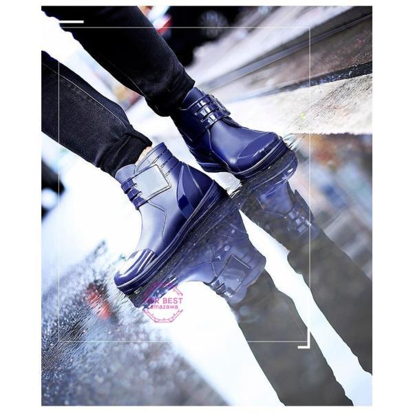 レインブーツメンズ 雨靴 レインシューズ ショートブーツ 防水 ブーツ 雨 雪 雨対策 おしゃれ 雨具 amazawa 10